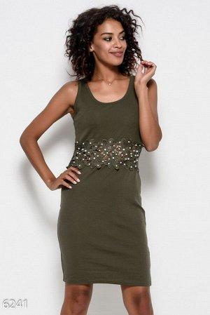 Трикотажное платье цвета хаки без рукавов, украшенное кружевом с бусинами и жемчужинами