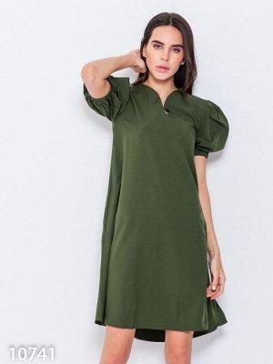 Свободное платье цвета хаки с рукавами-фонариками
