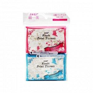 Бумажные двухслойные платочки с шелком Kami Shodji Ellemoi Kinubi Print Tissues, спайка 4 упаковки по 10 шт