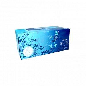 Бумажные салфетки с шелком Kami Shodji Ellemoi Kinu-bi, голубые, 2 слоя, упаковка 200 шт.