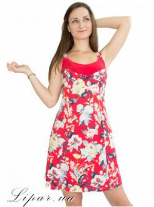 Сарафан лляний з квітковим принтом Червоний