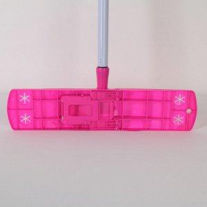 Швабра плоская Доляна, металлическая ручка 120 см, насадка букля 42?12 см, цвет МИКС
