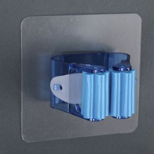 Держатель для уборочного инвентаря на липучке, 12х10х5 см, цвет МИКС