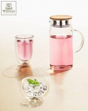 WILMAX Thermo Glass Термо кувшин с деревянной крышкой 1000мл WL-888207/A