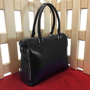 Классическая сумка French_Der формата А4 из гладкой натуральной кожи черного цвета.