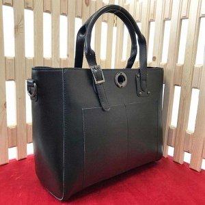 Двусторонняя сумка Primo_Vero формата А4 из высококлассной натуральной кожи черного цвета.