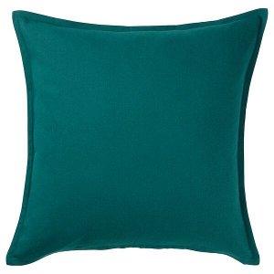 ГУРЛИ Чехол на подушку, темно-зеленый, 50x50 см
