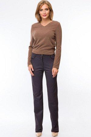 Слегка приуженные сине-серые с принтом брюки