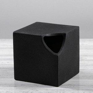 """Ваза настольная """"Куб"""". чёрный цвет. 12 см. керамика. 1 сорт"""