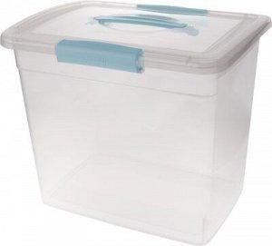 """Ящик для хранения """"Laconic"""" с защелками и ручкой, 20 л небесный прозрачный, 315 х 370 х 270 мм 1/6"""