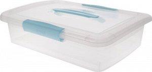 """Ящик для хранения """"Laconic"""" с защелками и ручкой, 5 л небесный прозрачный, 95 х 370 х 270 мм, 1/6"""