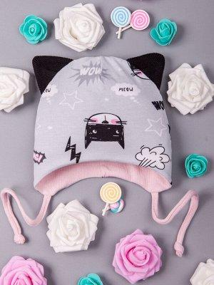 Шапка трикотажная для девочки с ушками на завязках, super cat, светло-серый