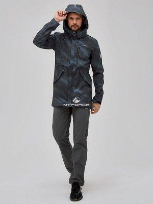 Мужской осенний весенний костюм спортивный softshell голубого цвета 02018Gl