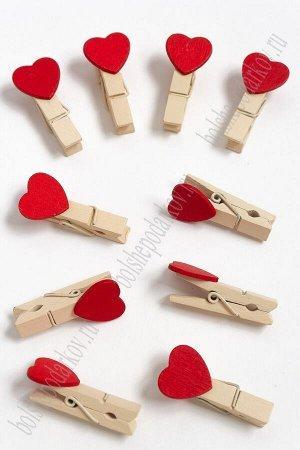 Прищепки деревянные с сердечком 18*35 мм (20 шт) SF-2203