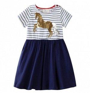 3452 (3 года) JM Платье для девочки с пайетками Лошадка