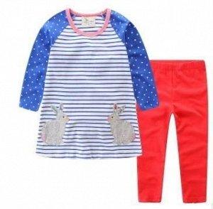375 (7 лет) Комплект для девочки Кролики( туника в полоску + штанишки розовые)