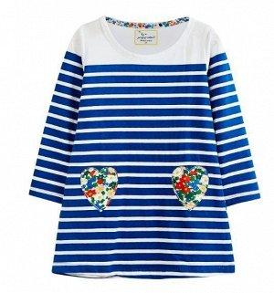 3451 (18-24М) JM Платье для девочки в полоску( кармашки цветочки)