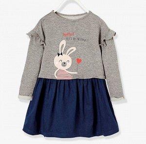 3455 (3 года) LM Платье для девочек серое с зайчиками