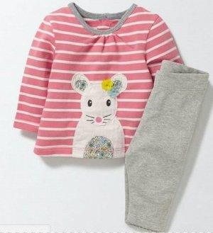 336  Комплект для девочки (кофточка в розовую полоску с мышкой + серые штанишки)
