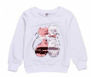 1911 (130 см) Свитшот Котики розовые с пайетками (белый)