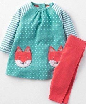 333 7T (120-130 см) JM  Комплект для девочки (бирюзовая туника с лисичками + красные штанишки)
