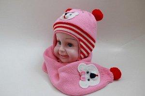 """Детский вязаный комплект шапка + шарф """"Мишутка"""" с подкладом из искусственного меха"""