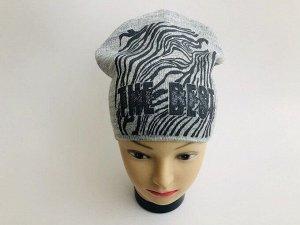 """Серая вязаная шапка с надписью """"The best"""""""