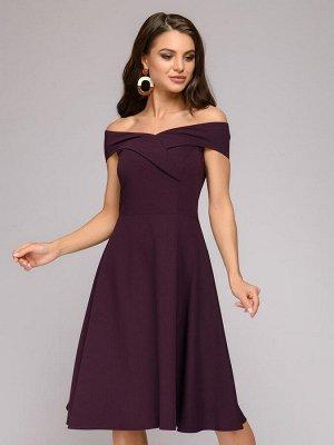 Платье сливового цвета длины миди с открытыми плечами
