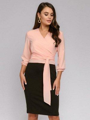 Блузка персикового цвета оригинального кроя