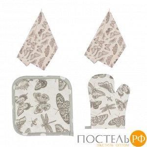 Набор кухонный «Бабочки» Прихватка, Варежка, Полотенце - 2 шт