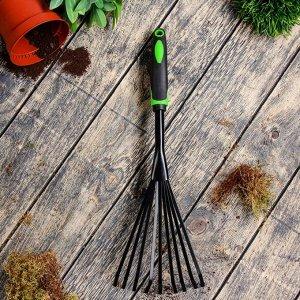 Грабли веерные, пластинчатые, длина 37,5 см, пластиковая ручка