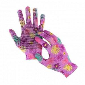 Перчатки нейлоновые, с ПВХ точками, размер 8, МИКС, «Цветы»