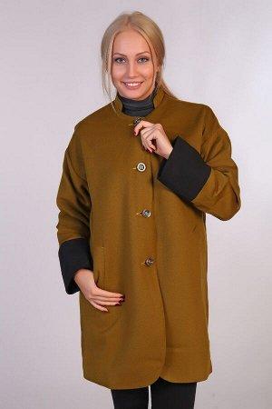 Пальто воротник-стойка JK-067 хаки