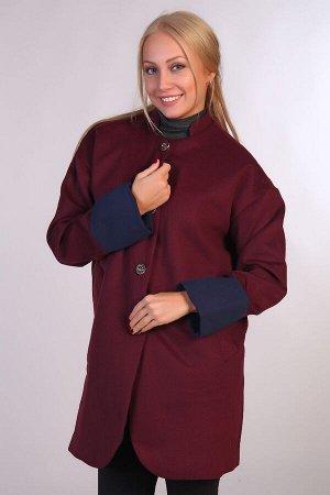 Пальто воротник-стойка JK-067 бордовая