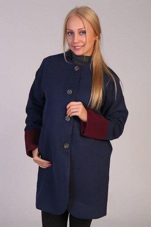 Пальто воротник-стойка JK-067 синяя