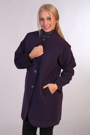 Пальто драповое воротником-стойкой JK-067 фиолетовое