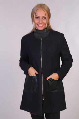 Драповое пальто JK-058 черное