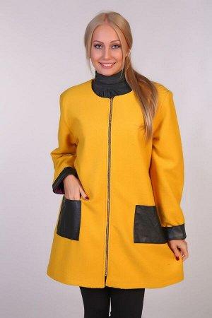 Драповое пальто JK-058 желтое
