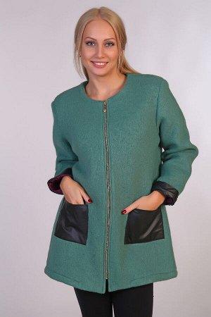 Драповое пальто JK-058 зеленое