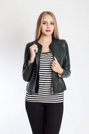 Кожаная куртка BN-62-1 темно-зеленая