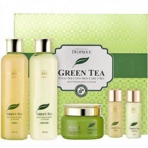 Deoproce premiium green tea total solution 3 set набор для ухода лица с экстрактом зеленого чая