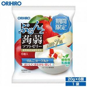 ORIHIRO Фруктовое желе «яблоко+йогурт» на основе конняку с содержанием натурального сока, 120 гр, 6 шт