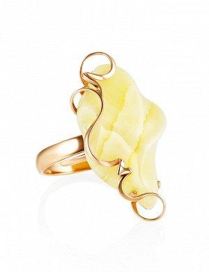 Кольцо из золота и натурального пейзажного янтаря «Риальто», 006203066
