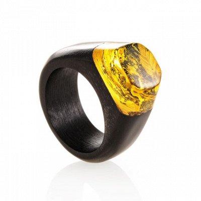 4 - Бижу из настоящего Янтаря   — Деревянные кольца с янтарем — Кольца бижутерия