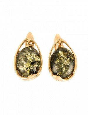 Миниатюрные золотые серьги «Селена» со вставкой зелёного янтаря, 5064212481