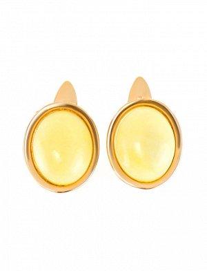 Овальные золотые серьги «Амиго» со вставкой медового янтаря с пейзажной текстурой, 5064112410