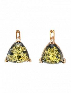 Небольшие серьги из серебра с золочением со вставками из зелёного янтаря «Треугольник», 610108212