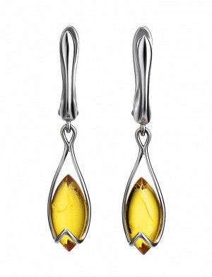 Изящные серьги из серебра и лимонного янтаря «Подснежник», 906512270