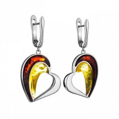 Бижу из настоящего Янтаря      — Серьги с янтарем в серебре — Ювелирные серьги