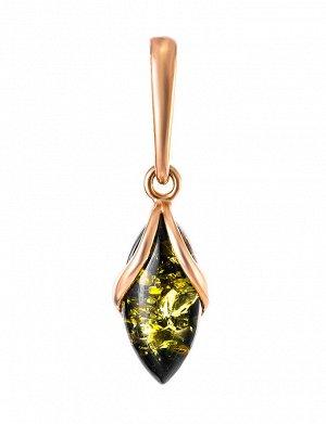 Изящная подвеска из золота с натуральным янтарём зелёного цвета «Подснежник», 707211024